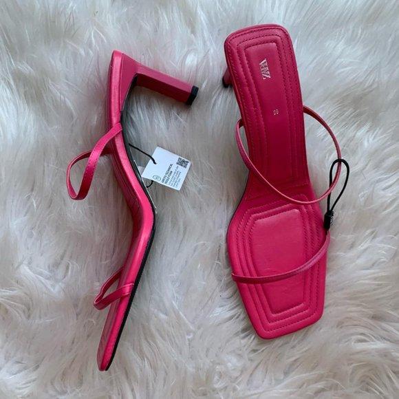 Zara Square Toe Sandal Heels